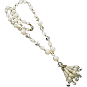 Vintage Judy Lee Moonglow Beaded Necklace with Tassel