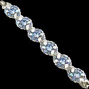 Vintage Signed Lisner Light Sapphire Rhinestone Bracelet