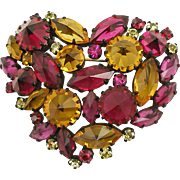 Unsigned Vintage Colorful Heart Pin