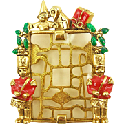 Vintage Signed Cookie Lee Nutcracker Christmas Pin or Frame Holiday Jewelry