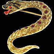 Vintage Signed Art Jeweled Snake Pin