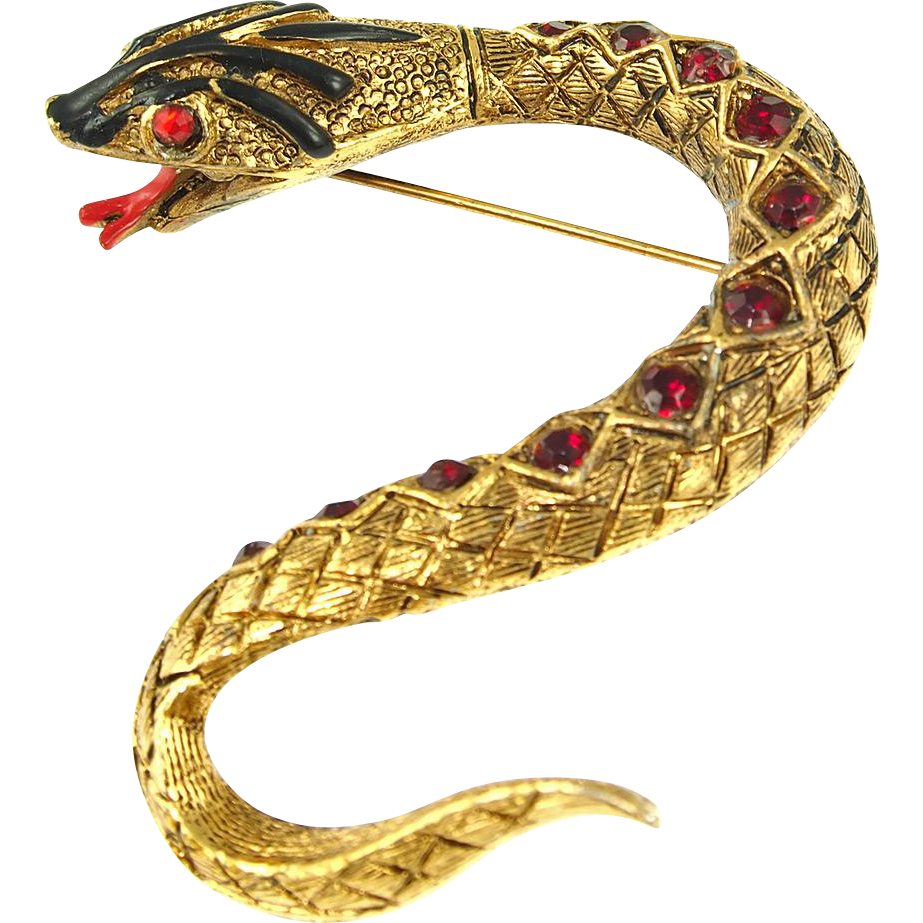 Vintage Signed Art Jeweled Snake Pin