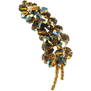 Vintage Juliana Rootbeer Beaded Leaf Pin