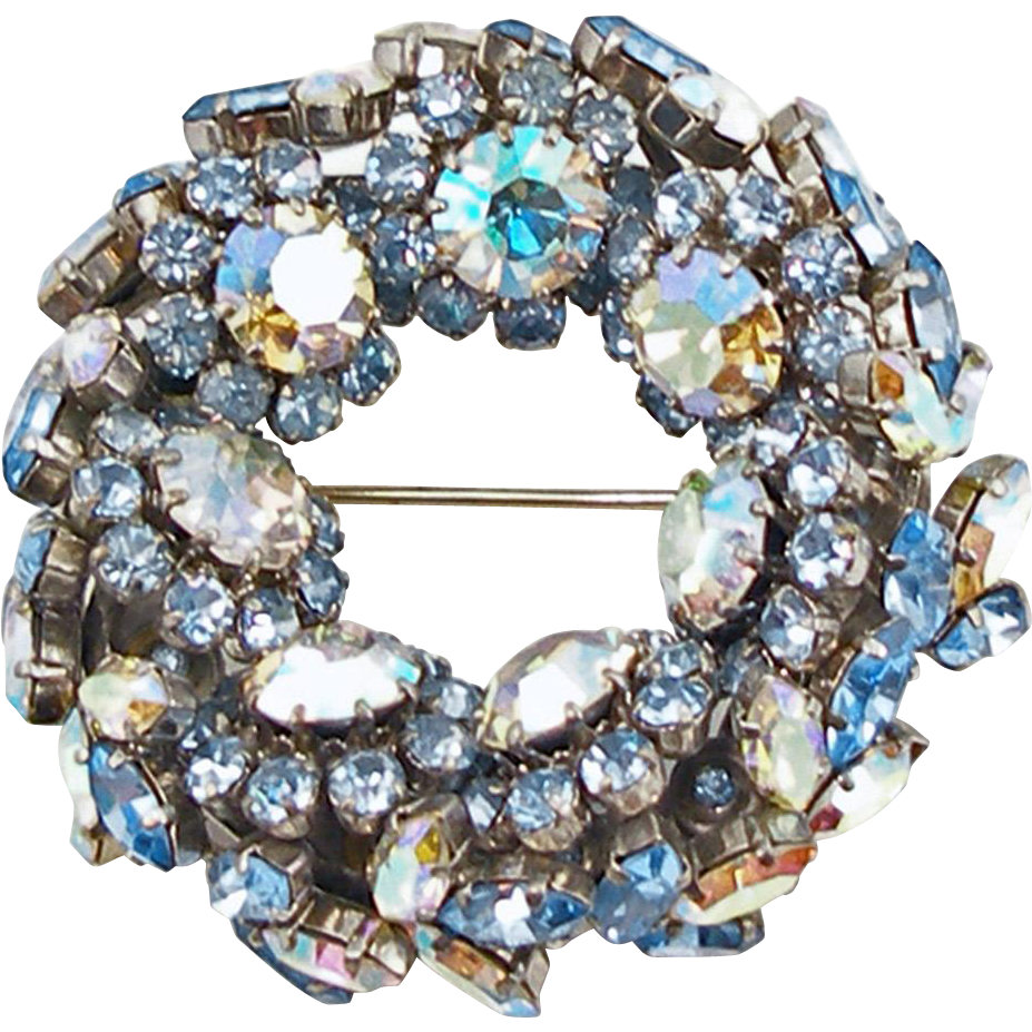 Vintage  Schoffel & Co. Blue Wreath Pin