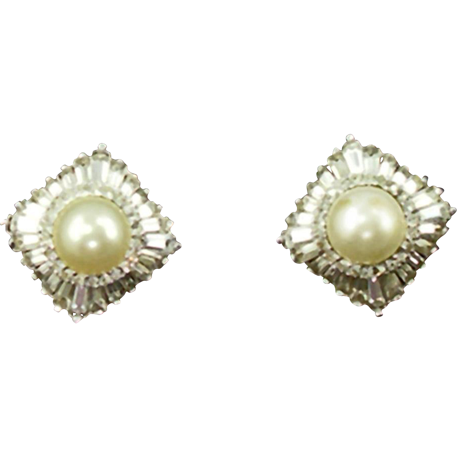 Vintage Panetta Faux Pearl & Diamond Clip Earrings