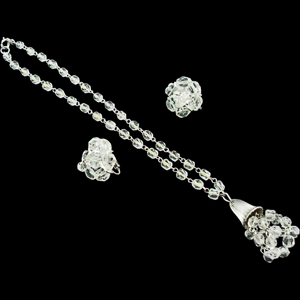 Vintage Kramer Crystal Bead Demi Parure