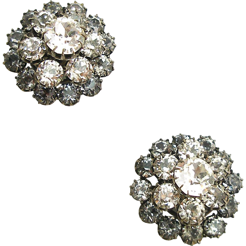 Vintage Made in France Multi Level Crystal Clip Earrings