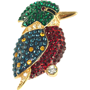 Vintage Unsigned Colorful Rhinestone Bird Pin