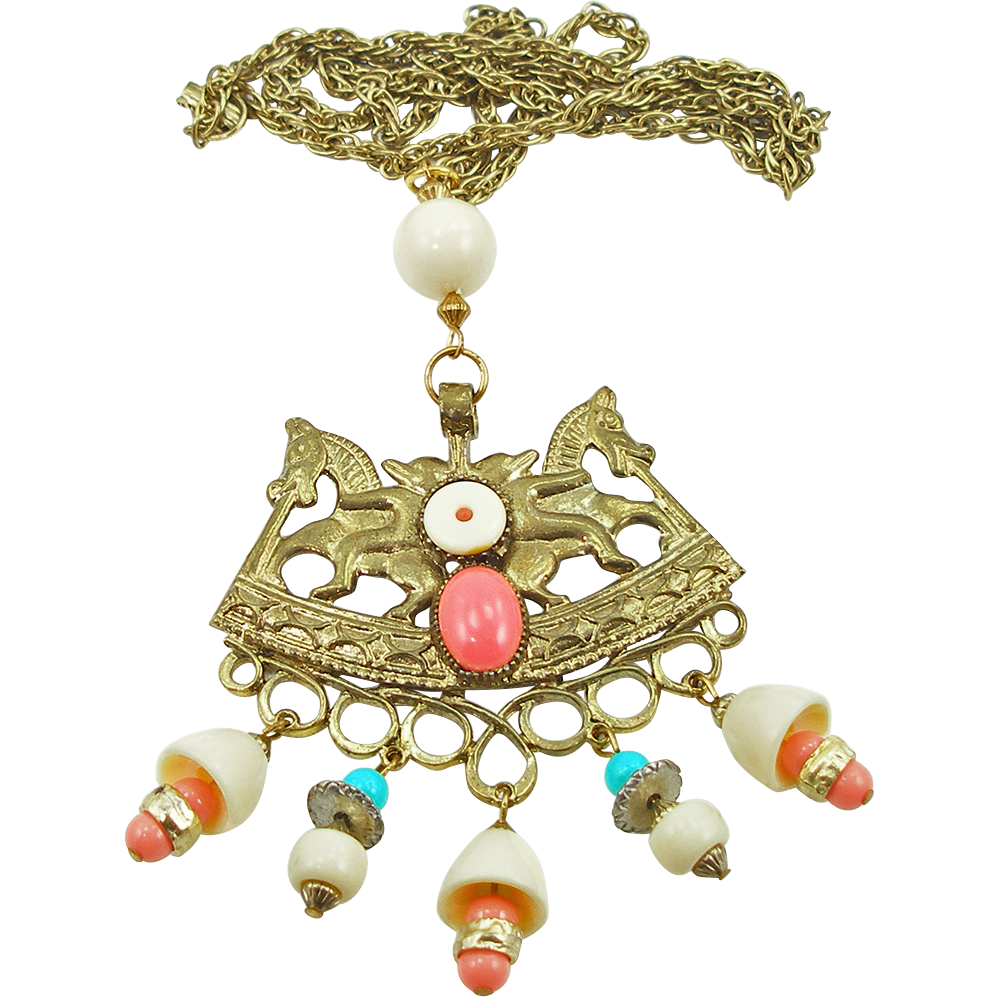 Vintage Signed Art Egyptian Style Pendant on Chain