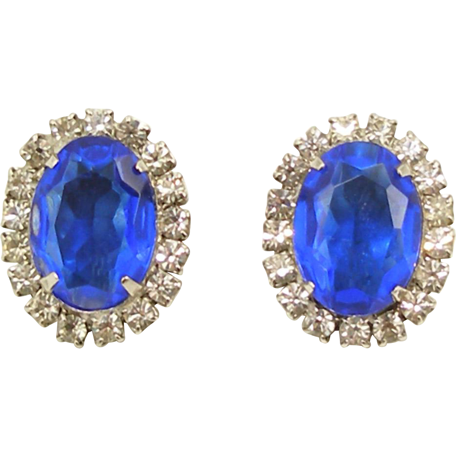 Unsigned Vintage Faux Sapphire and Diamond Earrings