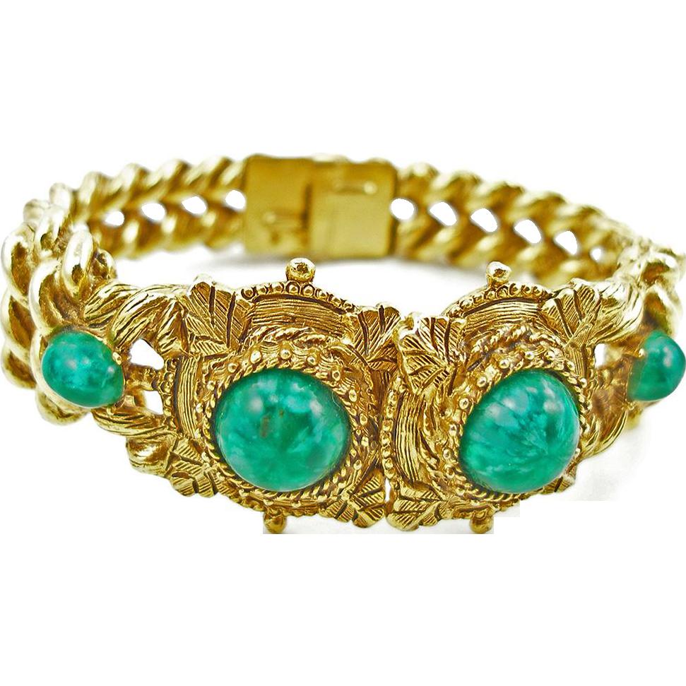Vintage Signed Florenza Faux Jade Bracelet