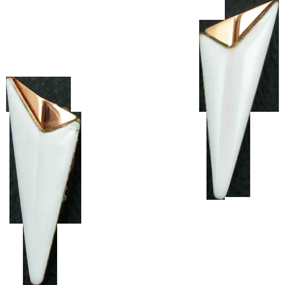 Vintage Matisse White Enameled Earrings