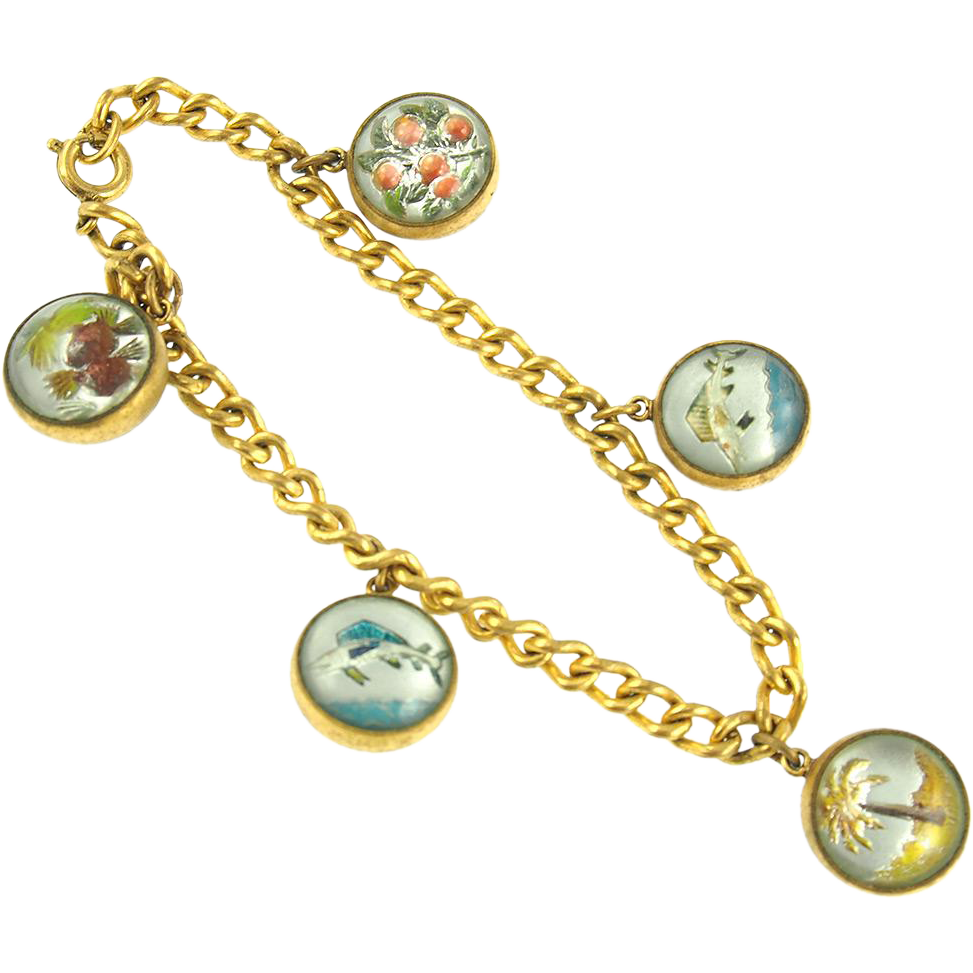 Vintage Goofus Glass Charm Bracelet