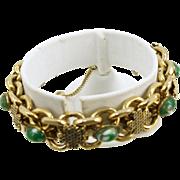 Vintage 4 Leaf Clover Bracelet with Art Glass Cabochons