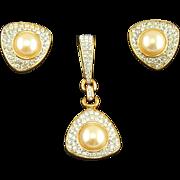 Vintage Swarovski Faux Diamond & Pearl Pendant & Earrings Set