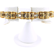 Vintage Damascene Scalloped Link Bracelet