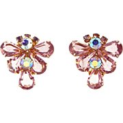 Vintage Unsigned Lavender Rhinestone Clip Earrings