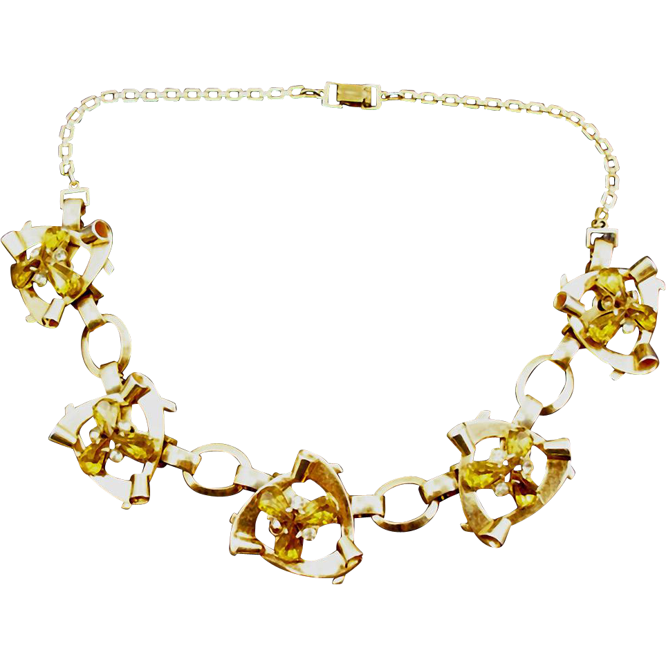 Vintage Signed Jeray Faux Topaz Retro Necklace