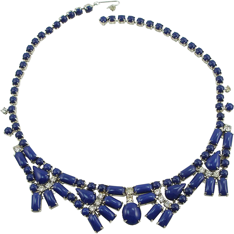 Vintage Signed By Gale Dark Blue Necklace