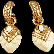 Designer Oscar de la Renta Faux Ivory Pierced Earrings