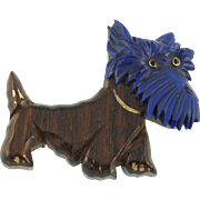 Vintage Wood and Plastic Scotty Dog Pin