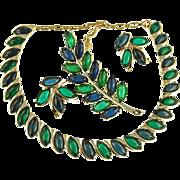 Vintage Faux Emerald & Sapphire Cabochon Parure