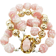 Vintage Pink & Gold Art Glass Bracelet