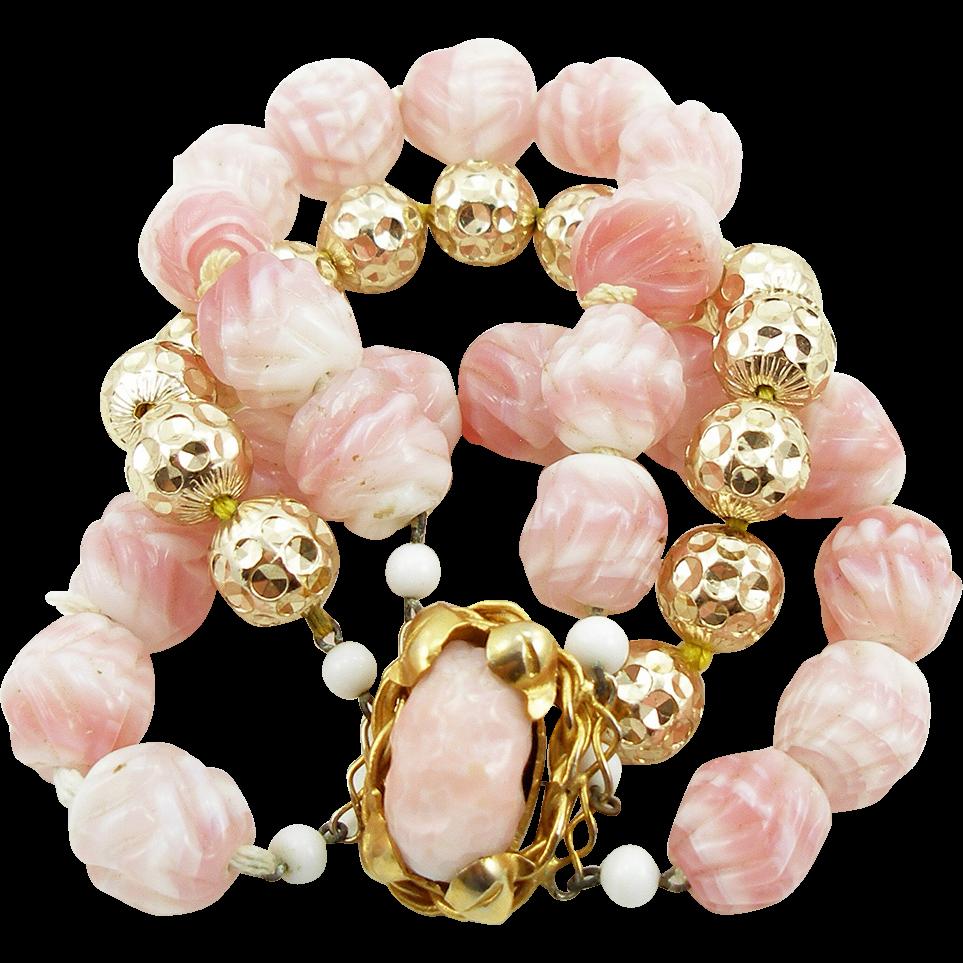 Vintage Pink & Gold Art Glass Bracelet