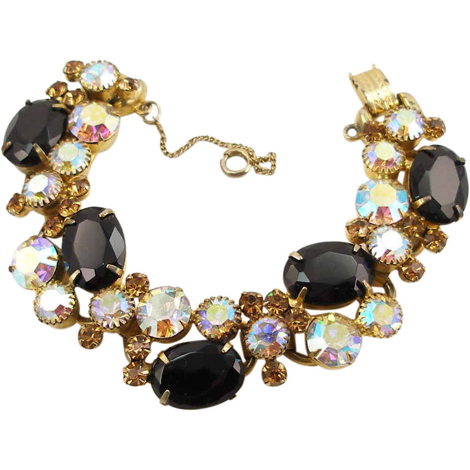 Vintage DeLizza & Elster Juliana Black & Aurora Borealis Bracelet