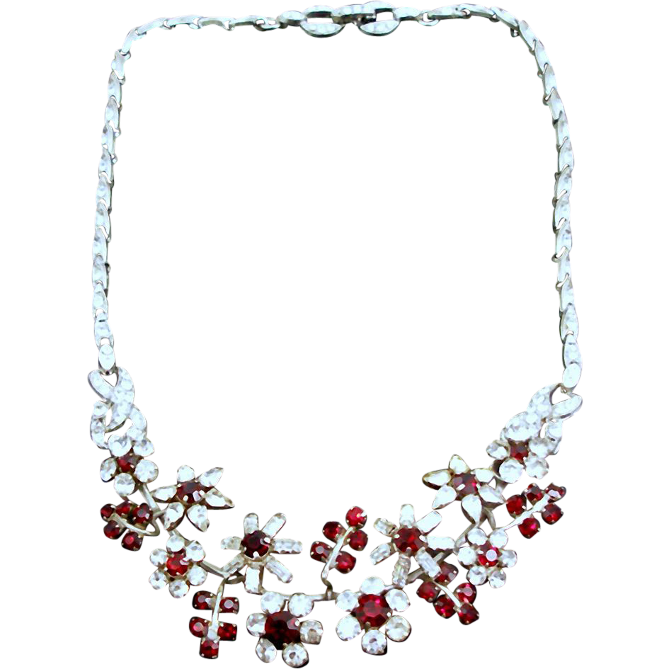 Unsigned Vintage Faux Ruby & Crystal Floral Necklace