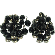 Vintage Black Bead Dangle Clip Earrings