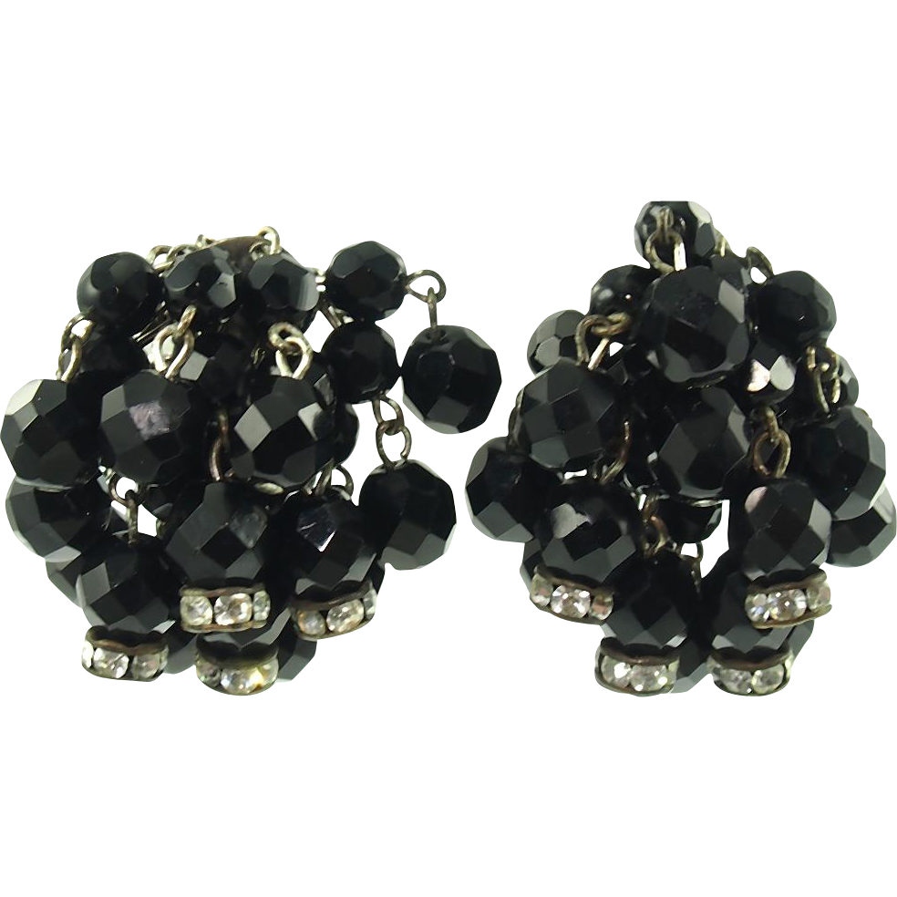 Vintage Black Bead Dangle Clip Earrings