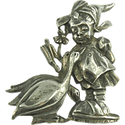 Vintage Figural Pot Metal Pin Girl with Geese