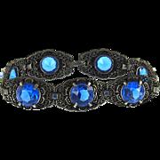 Vintage Unsigned Electric Blue Filigree Bracelet