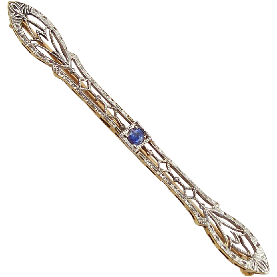 Vintage 14K Yellow and White Gold Filigree Bar Pin
