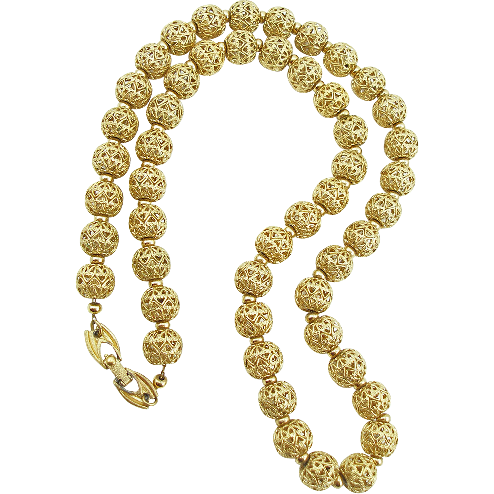 Vintage Signed Monet Filigree Bead Necklace