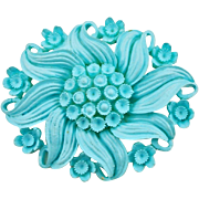 Vintage Blue Featherlite Floral Pin