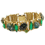 Vintage Unsigned Green Multi Link Bracelet
