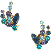 Vintage Colorful Floral Motif Clip Earrings