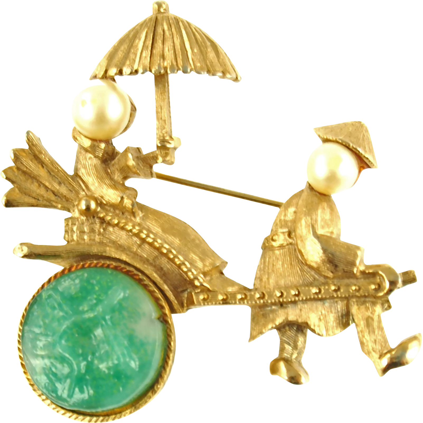Unsigned Vintage Golden Rickshaw with Rider Pin