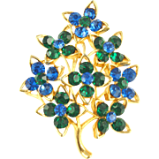 Vintage Signed Lisner Faux Sapphire & Emerald Floral Pin