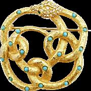 Vintage Signed DeNicola Snake Pin