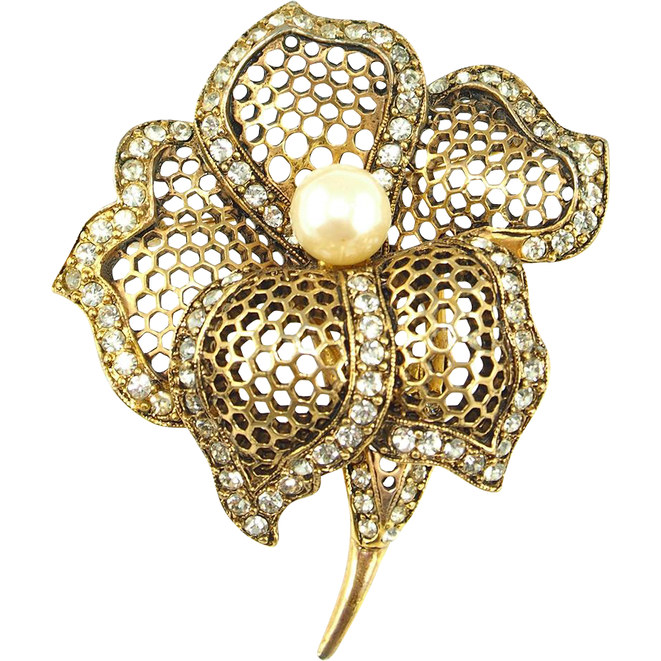 Vintage Signed MJ Ent Flower Brooch