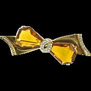 Vintage Retro Gold Tone Faux Topaz Bow Pin