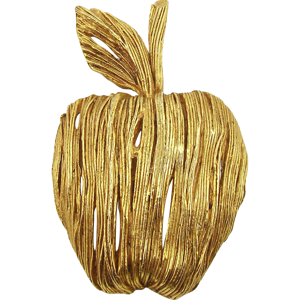 Vintage Signed Erwin Pearl Large Golden Apple Pin or Pendant