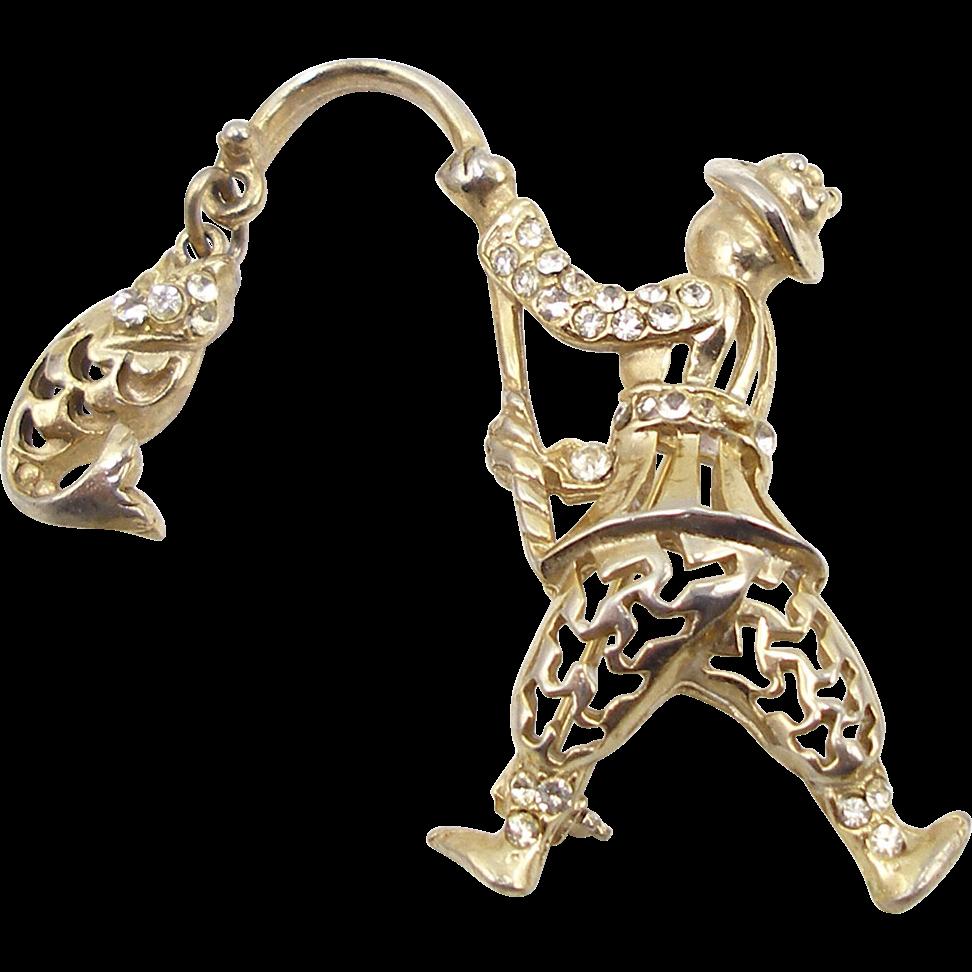 Unsigned Figural Rhinestone Fisherman with Fish Pin