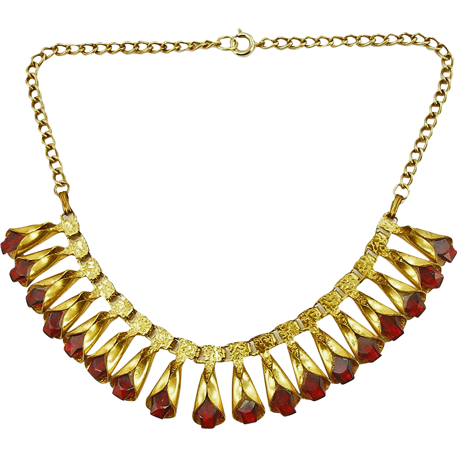 Unsigned Vintage 1930's Ruby Glass Necklace