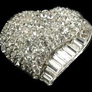Vintage Unsigned Pavé Heart Pin
