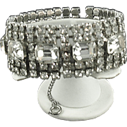 Vintage Weiss Wide Rhinestone Bracelet