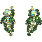 Vintage DeLizza & Elster Juliana Faux Emerald Clip Earrings